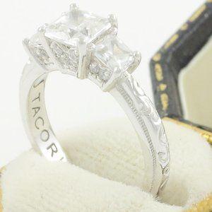 Tacori Silver Princess CZ Ring Emboss Band SZ6.25